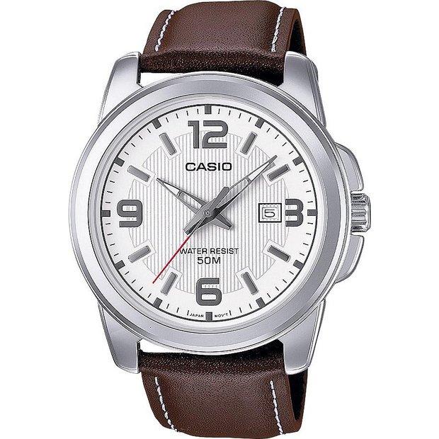 Buy Casio Men S Brown Genuine Leather Strap Watch Men S Watches Argos