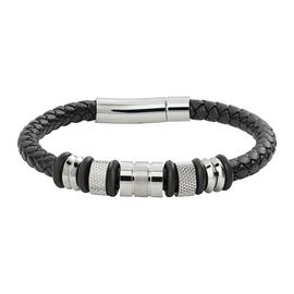Revere Men's Stainless Steel and Leather Bead Bracelet