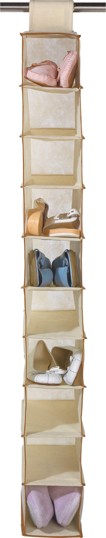HOME 10 Pocket Hanging Canvas Shoe Storage   Cream