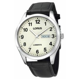 Lorus Men's Lumibrite Black Leather Strap Watch