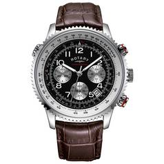 Rotary Men's Brown & Black Chronograph Leather Strap Watch