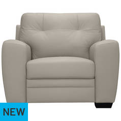 Argos Home Raphael Leather Mix Armchair - Light Grey