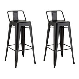 Argos Home Industrial Pair of Metal Bar Stools - Matt Black