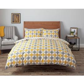 Argos Home Mustard and Grey Circles Bedding Set - Double