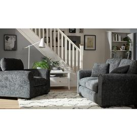 Argos Home Tammy Fabric Chair and 2 Seater Sofa - Charcoal
