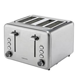 Cookworks 4 Slice Toaster - Brushed Stainless Steel
