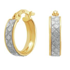Revere 9ct Gold Plated Silver Glitter Huggie Hoop Earrings