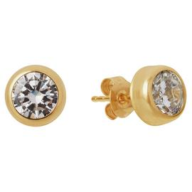 Revere 9ct Yellow Gold Round CZ 5mm Stud Earrings
