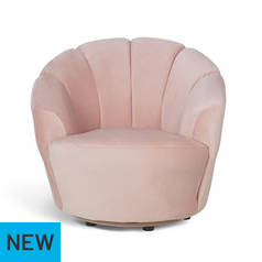 Argos Home Ezra Velvet Swivel Chair - Blush Pink