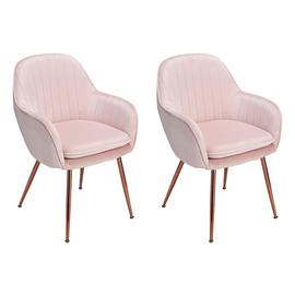 Argos Home Bella Pair of Velvet Dining Chairs - Blush