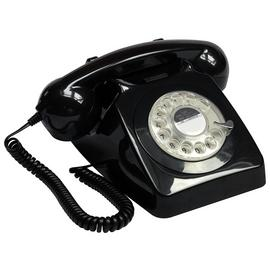 GPO 746 Rotary Dial Corded Telephone - Black
