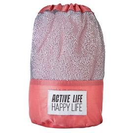 Active Life Happy Life Sports Towel - Pink