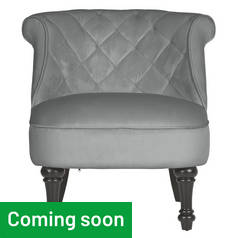 Argos Home Mika Quilted Velvet Accent Chair - Grey