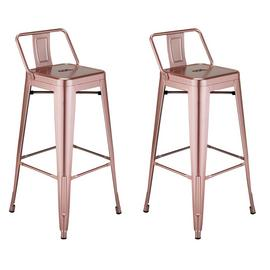 Argos Home Industrial Pair of Metal Bar Stools - Pink