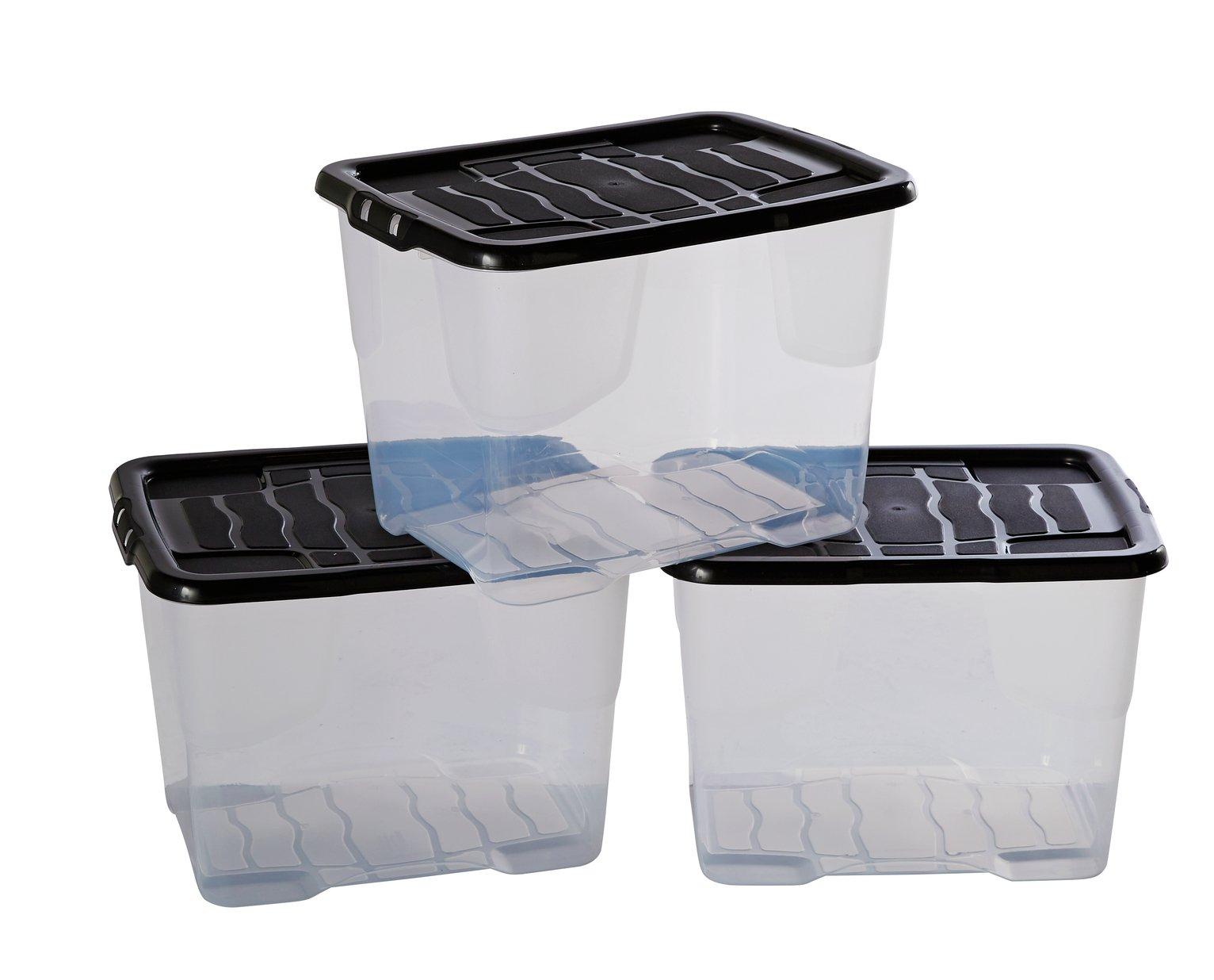 Buy Argos Home 24 Litre Curve Lidded Storage Box   Set Of 3 | Plastic  Storage Boxes | Argos