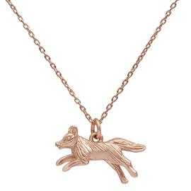 Revere 9ct Rose Gold Plated Fox Pendant 16 Inch Chain