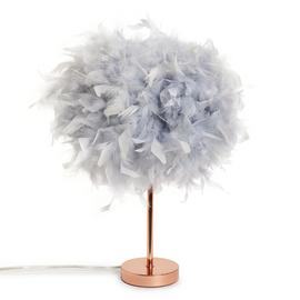 Habitat Table Lamp - Grey Feather and Rose Gold