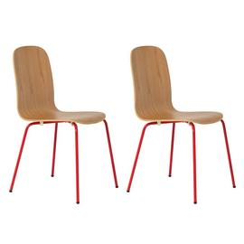 Habitat Kirby Metal Chair - Oak and Red Gloss