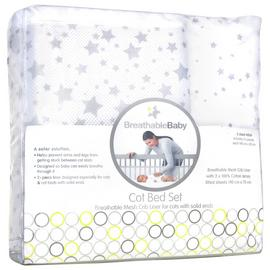 BreathableBaby Cot Bed Set - Twinkle Grey