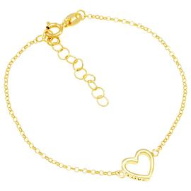 Revere 9ct Gold Plated Sterling Silver Open Heart Bracelet
