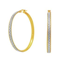 Revere 9ct Gold Plated Sterling Silver Glitter Hoop Earrings