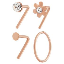 State of Mine Rose Gold Plated Nose Hoop and Stud - Set of 4