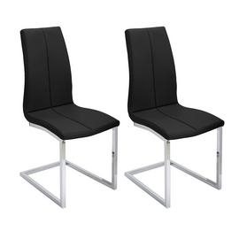 Argos Home Milo Pair of Faux Leather Dining Chairs - Black