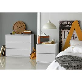Argos Home Holsted 2 Drawer Bedside Table - White