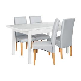 Argos Home Lyssa Wood Dining Table & 4 Skirted Grey Chairs