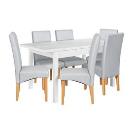 Argos Home Lyssa Wood Dining Table & 6 Skirted Grey Chairs