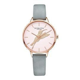 Victoria Hyde Grey Leather Strap Watch