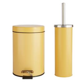 Argos Home Bin and Toilet Brush Set - Mustard
