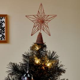 Argos Home Christmas Noir Copper Geometric Star Tree Topper