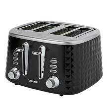 Cookworks Textured 4 Slice Toaster - Black