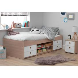 Argos Home Camden White & Acacia Cabin Bed & Kids Mattress