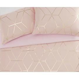 Argos Home Blush Jacquard Geo Bedding Set - Superking