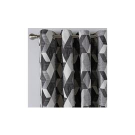 Argos Home Geometric Lined Eyelet Curtains - Monochrome