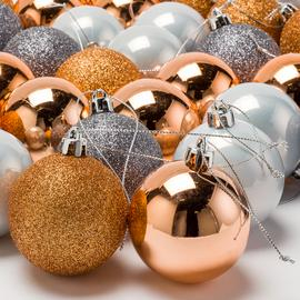 Argos Home 48 Pack Christmas Noir Baubles - Copper and Grey