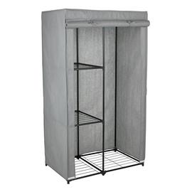 Argos Home Single Metal Framed Fabric Wardrobe - Grey