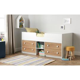 Argos Home Jackson White & Oak Shorty Cabin Bed & Mattress