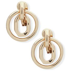 Anne Klein Gold Colour Interlock Octagon Drop Earrings
