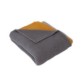 Argos Home Knitted Throw - Grey & Mustard