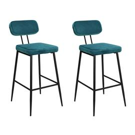 Argos Home Beatrice Pair of Velvet Bar Stools - Teal