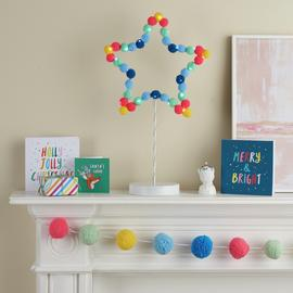 Argos Home Light Up Pom Pom Star Table Decoration