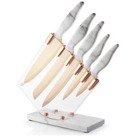 Taylors Eye Witness 5 Piece Marble and Rose Gold Knife Block