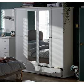 Argos Home Heathland 4 Door 2 Drawer Mirror Wardrobe