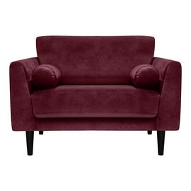 Habitat Jackson Velvet Cuddle Chair - Burgundy