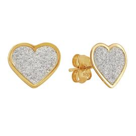Revere 9ct Gold Plated Silver Glitter Heart Stud Earrings