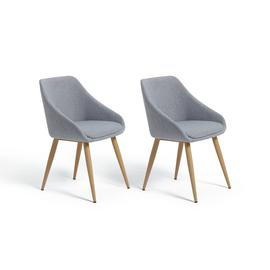 Argos Home Skandi Pair of Fabric Dining Chairs - Grey