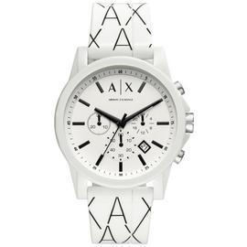 Armani Exchange Men's White Silicone Strap Watch